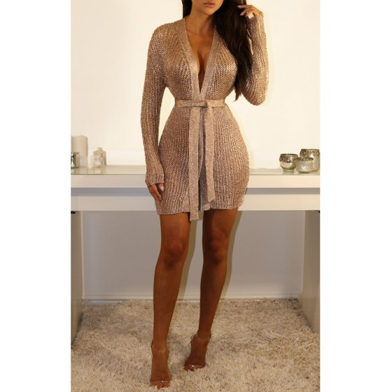 DUBAI MINI METALLIC KNIT DRESS