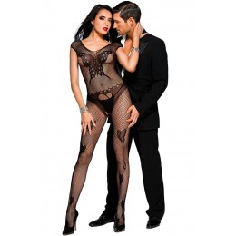 Black Butterfly Accent Fishnet Bodystocking
