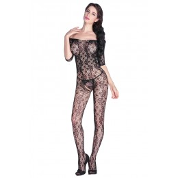 Black Lace Floral Open Tight Super Decollete Bodystockings