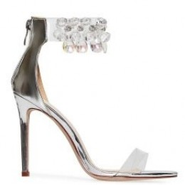 CRYSTAL SILVER HIGH HEELS