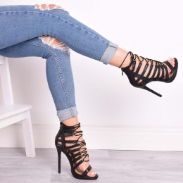 DEVI BLACK LACE UP HEELS