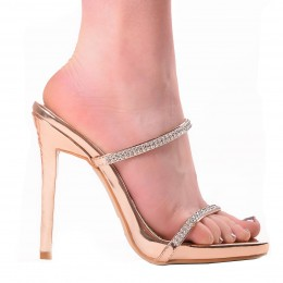 ERICA ROSE GOLD MULES STRAPPY SANDALS