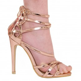 ISABELLA ROSE GOLD CROSS STRAP HEELS