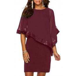 Sequined Poncho Mini Dress